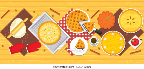 Illustration vector flat cartoon background of baked pie on table dinner on cooking on holiday concept