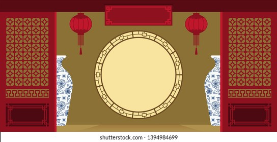 Illustration vector flat cartoon background of Chinese door,window frame,lantern indoor at house or restaurant.