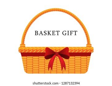 illustration vector flat cartoon of blank wicker basket gift with red bow ribbon isolated on white background