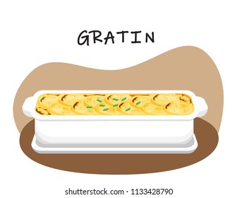 Illustration vector flat cartoon of food on table on white background. Gratin dauphinois is french food. Baked potatoes milk and cheese.