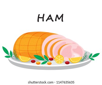 Illustration vector flat cartoon of food on happy Thanksgiving menu on dinner table as feast concept. Smoked pork or meat ham sliced with decoration on tray.