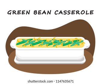 Illustration vector flat cartoon of food on happy Thanksgiving menu on dinner table as feast concept. Isolated cooking pot of green bean casserole