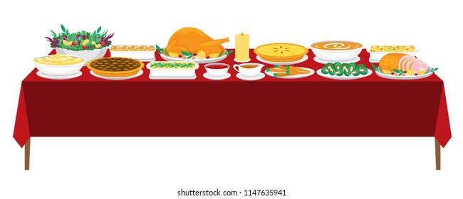 Illustration vector flat cartoon of food on happy Thanksgiving menu on dinner table as feast concept. Isolated of Roasted Turkey with gravy cranberry sauce and stuffing,Avocado Salad, pumpkin pie,soup