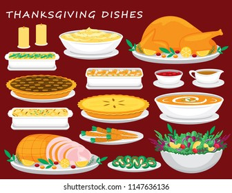 Illustration vector flat cartoon of food on happy Thanksgiving menu on dinner table as feast concept. Isolated of Roasted Turkey with gravy cranberry sauce and stuffing,Ham,Salad, pumpkin pie,soup