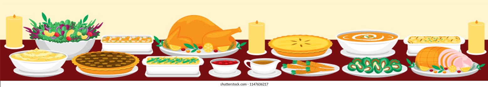 Illustration vector flat cartoon of food on happy Thanksgiving menu on dinner table as feast concept. Set of food on harvest festival on autumn. Roasted turkey and side dishes
