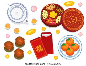 illustration vector flat cartoon of happy Chinese new year concept. Isolated table decoration food, sweet and drink top view