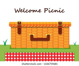 Illustration vector flat cartoon icon or logo of isolated Wicker Picnic Basket or Hamper on grass and blanket on grass white background on picnic party invitation concept. .