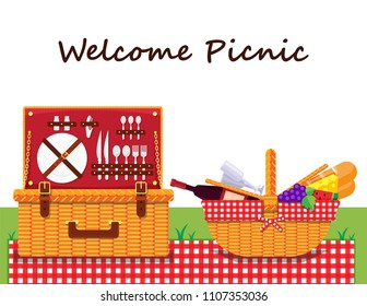 Illustration vector flat cartoon icon or logo of isolated Wicker Picnic Basket or Hamper and food and drink,bread,grape,water melon,cheese,wine,bottle,glass with blanket on grass white background.