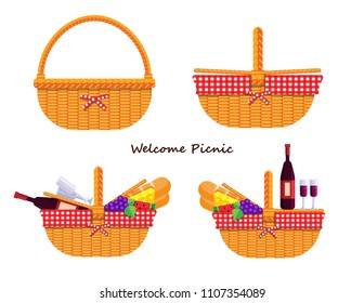 Illustration vector flat cartoon icon or logo of isolated Wicker Picnic Basket or Hamper and food and drink,bread,grape,water melon,cheese,wine,bottle,glass with blanket on white background.