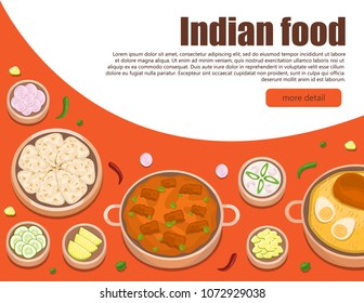 Illustration vector flat cartoon Indian food of chicken Biryani and chicken butter with Nan bread isolated on table top view