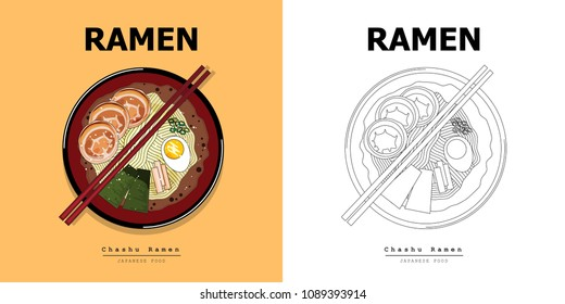 Illustration vector flat cartoon isolated food on table top view. Japanese noodles Chashu slice ramen bowl with chopsticks,miso soup ,egg boiled,grilled nori,ferment,leek,bamboo shoot on table