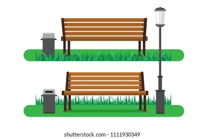 illustration vector flat cartoon of isolated bench at park on white background with bin and light on green yard