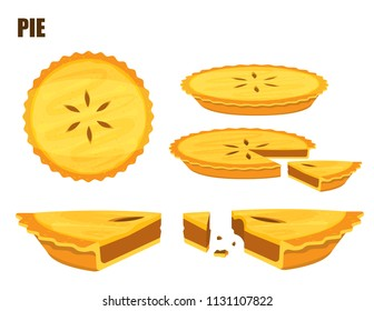 Illustration vector flat cartoon isolated meat or mince pie on white background top view and side view for server on table at bakery shop
