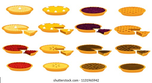 Illustration vector flat cartoon isolated on white background of piece of pie set. Piece of Apple,pecan,pumpkin,blueberry,cherry pie for plate on table on eating dessert concept