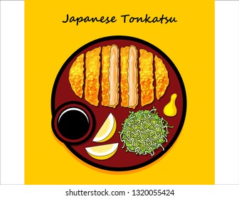 illustration vector flat cartoon of Japanese food top view on table, Stir fried pork or Tonkatsu with sauce.