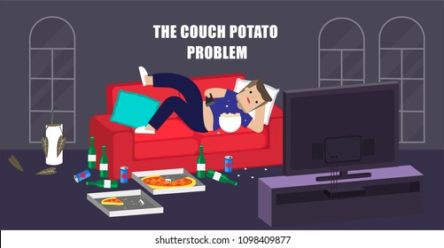 Illustration vector flat cartoon people of young lazy fat man laying down on sofa and watching tv all day in messy living room as couch potato lifestyle problem concept