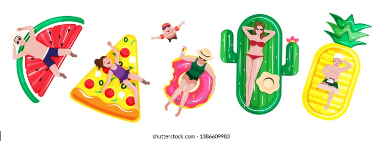 illustration vector flat cartoon of people man,woman,kids fun and relaxing on inflatable isolated on white background.