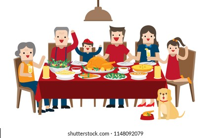 Illustration vector flat cartoon of set of food. Asian family dinner table and chair at home or restaurant on Happy thanksgiving day concept. On white background