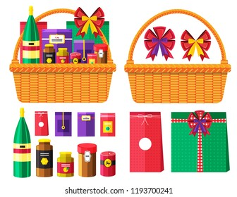 Illustration vector flat cartoon thing of grocery canned food isolated and basket or hamper for happy Christmas Thanksgiving day or New year gift setting on white background