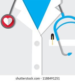 Illustration Vector: flat design medical uniform with a love stethescope