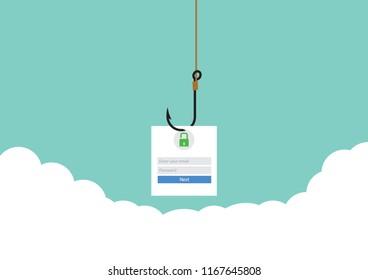 Illustration vector, flat design phishing mail