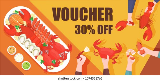 Illustration vector flat isolated of boiled mixed seafood platter on table top view at market or restaurant set menu with sour cream or sauce side dishes. Customer eating together on voucher ,coupon