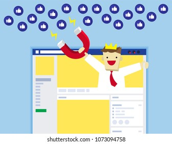 Illustration vector flat of social media website layout or frame or web page as concept and expert advertising agency holding magnet attract icon from audience.