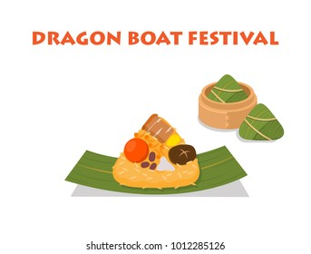 Illustration vector flat style of Zongzi for dragon boat festival, dim sum Chinese dumping rice on bamboo leaf. Isolated on white background. For Ingredient  and recipe presentation