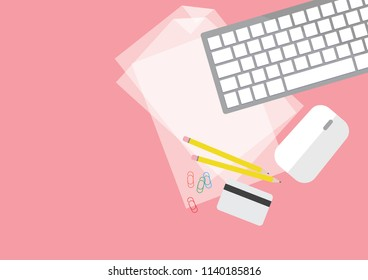 Illustration vector of flatlay document, keyboard, pencil and credit card