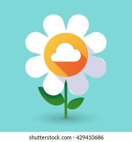 Illustration of a  vector flower with a cloud