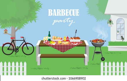 Illustration vector of foods on table at barbecue garden party at home, grilled meat,sausage,rib,sauce,corn,vegetable,beer bottle, and lemonade