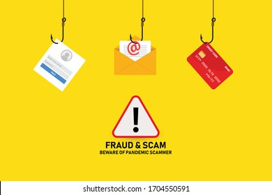 Illustration vector: Fraud and scam online banking, transfer, email and data breach