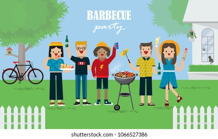 Illustration vector of friends having fun   and eating food and drinking at barbecue garden party with outdoor table