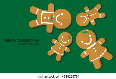 Illustration vector of gingerbread family on Christmas theme.