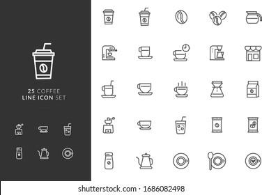 Illustration vector graphic of 25 Coffee Line Icon Set