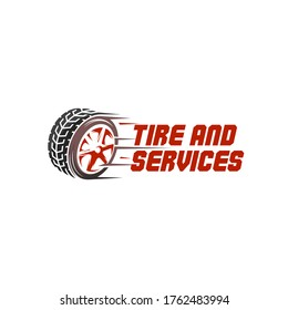 illustration vector graphic of abstract mark for tire tyre shop and car services logo design