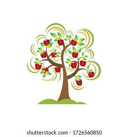 Illustration vector graphic of apple tree. Best for logo of plant illustration