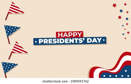 Illustration vector graphic background design of united states presidents day with flag and stars.