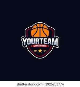 Illustration vector graphic of Basketball logo. Logo emblems, badges and design elements. Design Template Inspiration. for t-shirt, team or championship