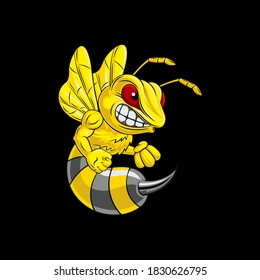 illustration vector graphic bee muscular