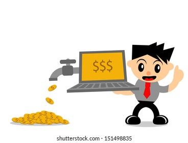 illustration vector graphic of cartoon character businessman in activity