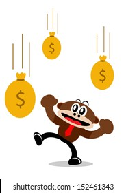 Illustration Vector Graphic Cartoon Character of Monkey in Business Themes