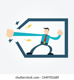Illustration vector graphic cartoon character of businessman showing power with his punch