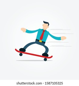 Illustration vector graphic cartoon character of businessman playing skateboard