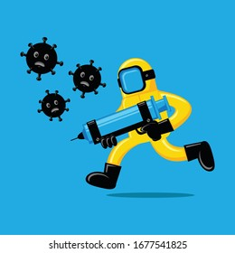 Illustration vector graphic cartoon character of human fight virus. Good to use for medical and health care content.