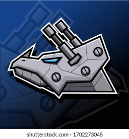 Illustration vector graphic cartoon character of robotic triceratops in esport logo style.