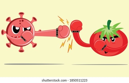 Illustration vector graphic cartoon character of tomato parry blows from virus