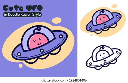 Illustration vector graphic cartoon character of cute alien UFO in Doodle Kawaii line art style. Suitable for children book, t-shirt, apparel and other children product.