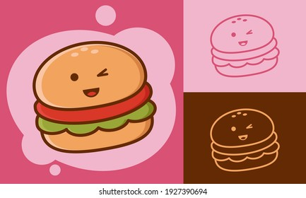 Illustration vector graphic cartoon character of cute burger in doodle kawaii style. Suitable for children product and culinary content.