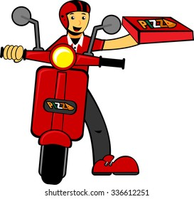 Illustration vector graphic cartoon character of delivery man bring pizza